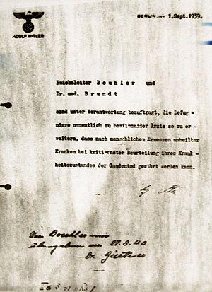 Nazi eugenics - Hitler's order for Action T4