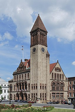 Albany City Hall, an 1883 Richardsonian Romanesque structure, is the seat of Albany's government. AlbanyNYCityHall.jpg