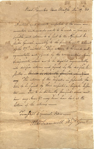Alexander Scammell - Transcript of General Orders from Colonel Alexander Scammell, 1780