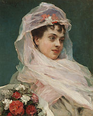 Aline Masson con tocado de gasa (Pintura)