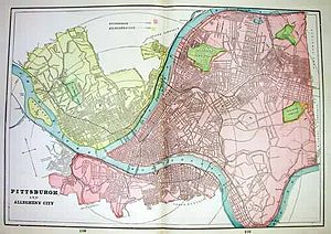 Allegheny, Pennsylvania - 1898 map with City of Allegheny in yellow, Pittsburgh in red, and parks in green