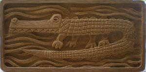 Jerome and Evelyn Ackerman - Alligator wood carved wall art designed by Evelyn Ackerman