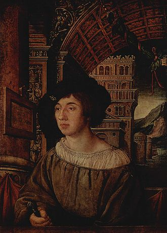 """Chemise - Fashionable young man in early 16th-century Germany showing a lot of fine linen in a studied negligee. This gentleman has a band of """"smocking"""" round the collar of his shift."""