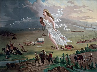 Manifest destiny - American Progress,  (1872) by John Gast, is an allegorical representation of the modernization of the new west. Columbia, a personification of the United States, is shown leading civilization westward with the American settlers. She is shown bringing light from the East into the West, stringing telegraph wire, holding a school textbook that will instill knowledge, and highlights different stages of economic activity and evolving forms of transportation.