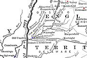 Cherry Valley lies south of the Mohawk River and east of the northern end of Lake Otsego. Unadilla is southwest, near where the Unadilla River joins the Susquehanna. Onaquaga lies a short way further southwest, on the Susquehanna.