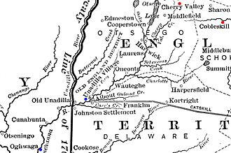 "Cherry Valley massacre - Map detail showing the western frontier of New York. Cobleskill and Cherry Valley are marked in red, Unadilla and Onaquaga (spelled ""Oghwaga"" on the map) are marked in blue."