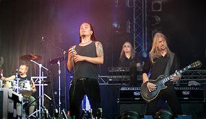 Amorphis - Left-right: J. Rechberger, T. Joutsen, S. Kallio and E. Holopainen at Ruisrock 2006.