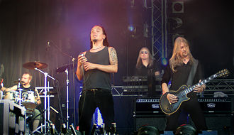 Amorphis - Left-right: J. Rechberger, T. Joutsen, S. Kallio and E. Holopainen at Ruisrock 2006.