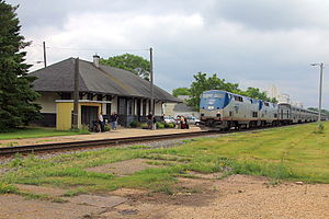 Tomah station - A Chicago-bound Empire Builder pulling into Tomah station