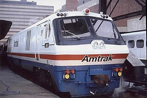 "LRC (train) - Amtrak locomotive 38, pulling the ""Beacon Hill"" service between New Haven and Boston, as seen in December 1980."
