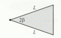 An isosceles triangle of mass M, vertex angle 2β and common-side length L.png