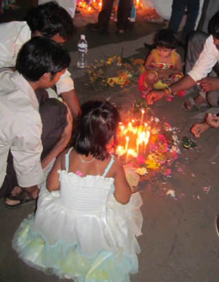 An offering at Chaitya Bhoomi