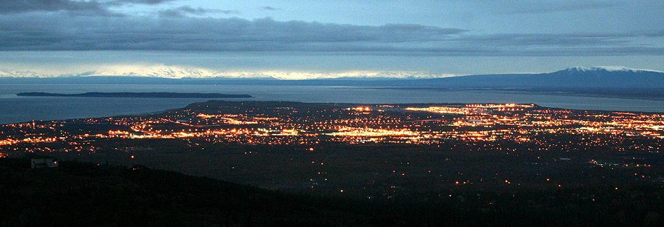 Panorama of Anchorage as viewed at night from the Glen Alps neighborhood, near Flattop Mountain.