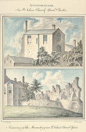 St John the Baptist's Church, Chester - St. John's Church yard and remains of the monastery, 1793
