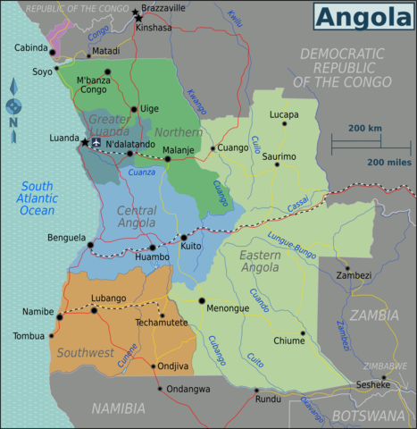 Regions of Angola By Burmesedays [CC BY 3.0 (https://creativecommons.org/licenses/by/3.0)], via Wikimedia Commons