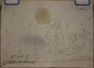 Pencil sketch of a group of putti (?)