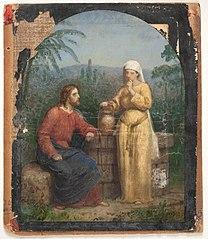 Olieskitse til Jesus og Samaritanerinden ved brønden