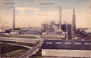 History of industrialisation - Aplerbecker Hütte, an industrialised area of Dortmund, Germany circa 1910. The old town can be seen beyond and some remaining agricultural land is in the foreground