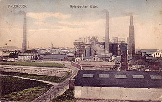 History of industrialisation - Aplerbecker Hütte, an industrialised area of Dortmund, Germany circa 1910.
