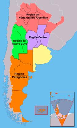 Las cuatro regiones en que se agrupan las provincias argentinas. La provincia de Buenos Aires y la Ciudad Autónoma de Buenos Aires, en amarillo, no integran ninguna región.