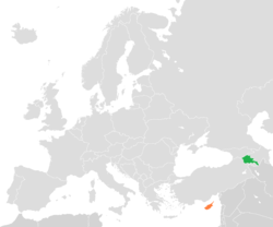 Map indicating locations of Armenia and Cyprus