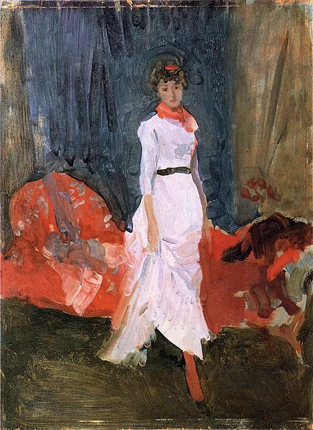 Arrangement in Pink, Red and Purple, 1883-1884, Cincinnati Art Museum, Cincinnati, Ohio. Arrangement in Pink Red and Purple by James Abbott McNeill Whistler.jpeg