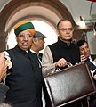 Arun Jaitley along with the Minister of State for Finance and Corporate Affairs, Shri Arjun Ram Meghwal arrives at Parliament House to present the General Budget 2017-18, in New Delhi (1).jpg