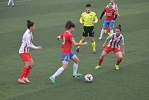 Turkish Women's First Football League - 2014–15 Women's First League match Ataşehir Belediyespor (white/red) vs Adana İdmanyurduspor (red/blue)