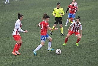 Turkish Women's First Football League - 2014–15 Women's First League match Ataşehir Belediyespor (white/red) vs Adana İdmanyurduspor (red/blue)