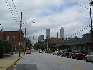 Sweet Auburn - Auburn Avenue, toward downtown Atlanta