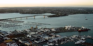 The Auckland Harbour Bridge with the North Shore in the distance.