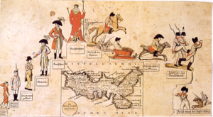 "Treaty of Fontainebleau (1814) - ""The Rise and Fall of Napoleon"", a cartoon drawn by Johann Michael Voltz following the Treaty of Fontainebleau; on the lower side is seen the map of Elba."