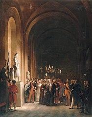 Le roi Louis-Philippe et la famille d'Orléans visitent la statue de Jeanne d'Arc dans les galeries de Versailles