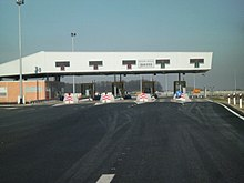 A five lane toll plaza