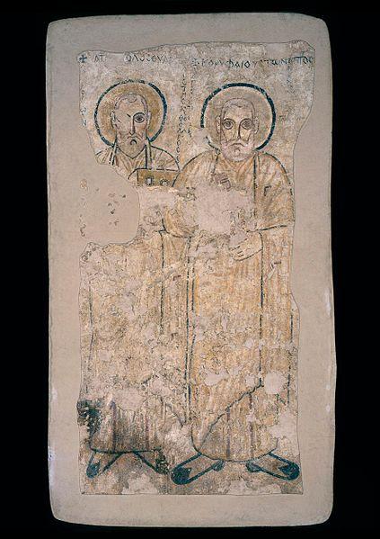 File:Autor nieznany, Św. Piotr i św. Jan Ewangelista. Malowidło ścienne.jpg