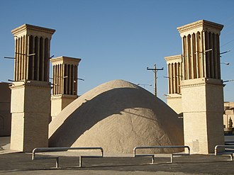 Semnan, Iran - Example of a badgir attached to a cistern of water in Yazd, Iran similar in construct to the ones in Semnan