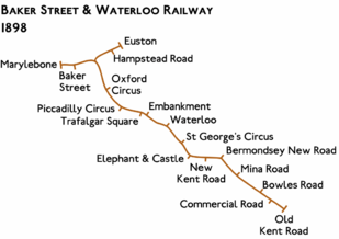 Route diagram showing line running from Marylebone at top left to Old Kent Road at bottom right. A short branch leaves the main route and curves to the right to end at Euston