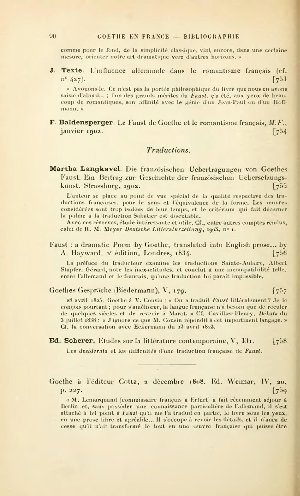 Page Baldensperger Bibliographie Critique De Goethe En