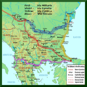 Balkans 6th century - marked Via Egnatia, Via Militaris, Via Pontica.png