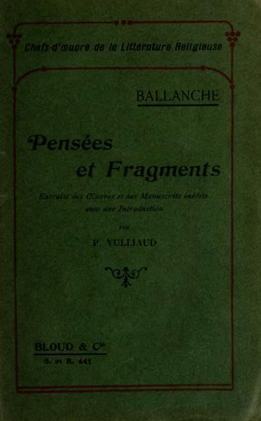 File:Ballanche - Pensées et Fragments, éd. Vulliaud, 1907.djvu