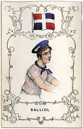 Balliol College Boat Club - An 1840s depiction of Balliol College's rowing outfit, including a blue bonnet with a chequered red, green and white band and jersey with thin red vertical stripes.