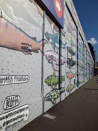 Shark finning - A mural protesting shark finning in Wellington, New Zealand