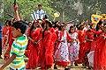 Bangladeshi girls wearing traditional sari with flower crown at Pohela Boishakh celebration 2016 (02).jpg