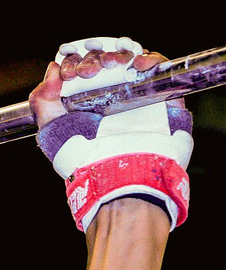 Grip (gymnastics) - A grip in use on the high bar