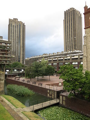 Barbican Estate - The Barbican Estate features underground parking, making space available for public squares.