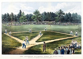 Alexander Cartwright - Early baseball game played at Elysian Fields in Hoboken, New Jersey (lithograph by Currier and Ives)