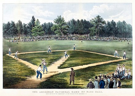 Early baseball game played at Elysian Fields, Hoboken (Currier & Ives lithograph) Baseball1866.JPG