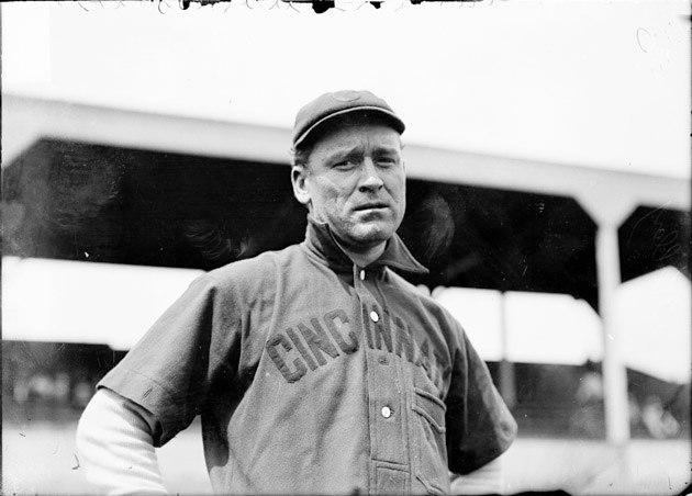 Baseball player, Joe Kelley, Cincinnati Reds, standing at West Side Grounds