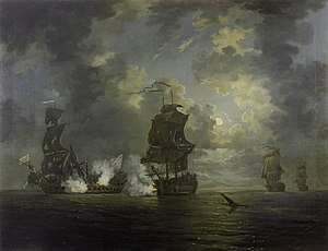 Joshua Rowley - Battle of Cartagena by Francis Swaine, National Maritime Museum