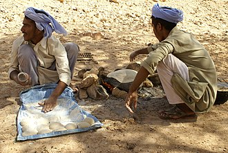 Baking - Bedouin Arabs making and baking bread